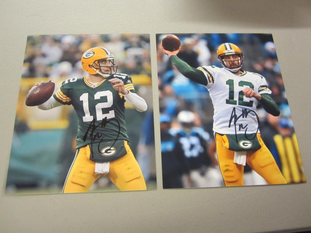 Lot 606: (2)AARON RODGERS SIGNED AUTOGRAPHED PACKERS 8X10 COA