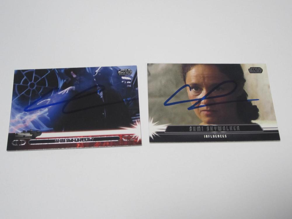 Lot 653: GEORGE LUCAS STAR WARS SIGNED AUTOGRAPHED LOT OF 2 TRADING CARDS CERTIFIED