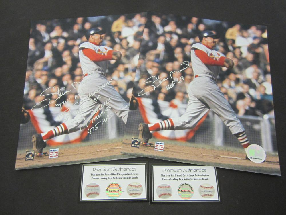 Lot 639: Stan Musial Cardinals Lot of 2 signed autographed 8x10 Photos Certified Coa