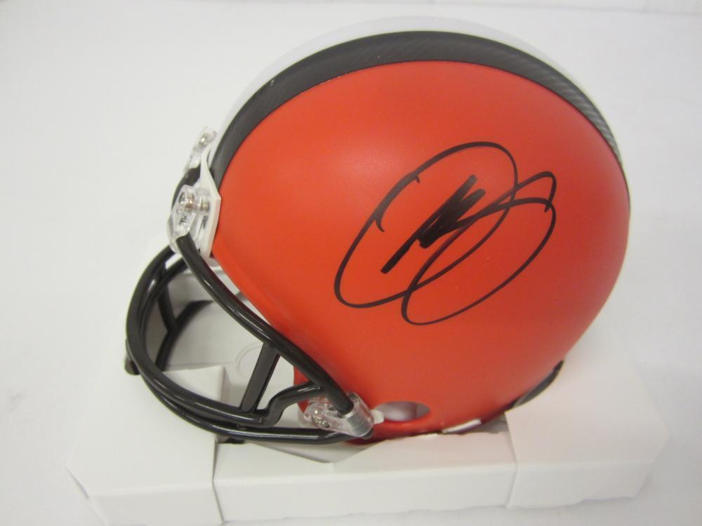 Lot 649: Baker Mayfield Odell Beckham Jr Dual signed autographed Browns Mini Helmet Certified Coa