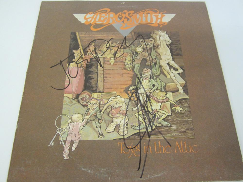 Lot 662: Aerosmith Band Multi signed autographed Record Album Joe Perry Steven Tyler Certified Coa