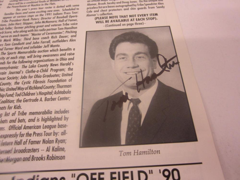 Lot 680: TOM HAMILTON SIGNED AUTOGRAPHED TRIBE TALK PAGE COA