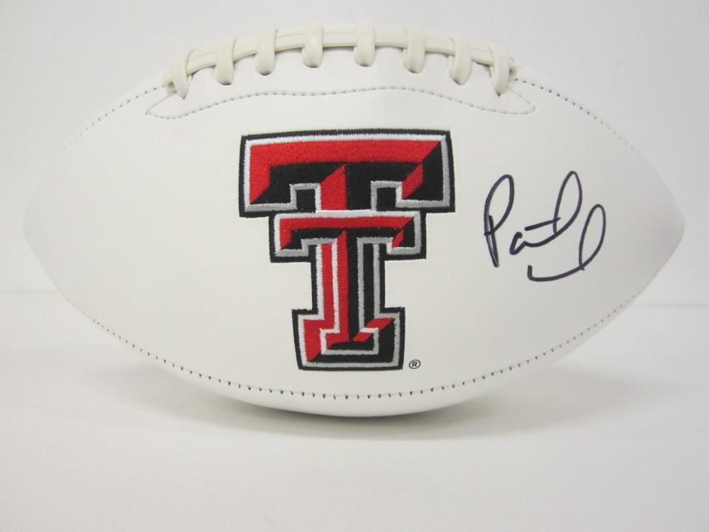 Lot 685: Patrick Mahomes Texas Tech signed Football Certified Coa