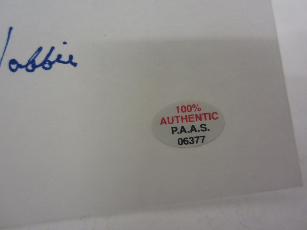 Lot 684: GLEN HOBBIE SIGNED AUTOGRAPHED 3X5 INDEX CARD PAAS COA