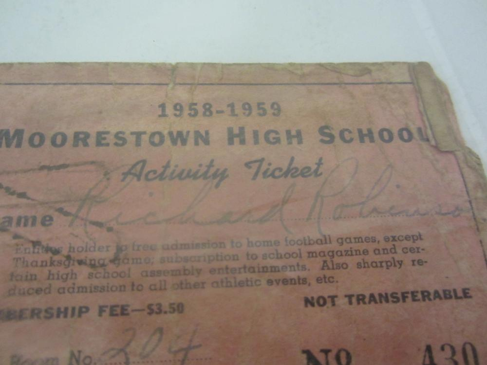 Lot 701: 1958-59 RICHARD ROBINSON SIGNED AUTOGRAPHED ACTIVITY TICKET COA
