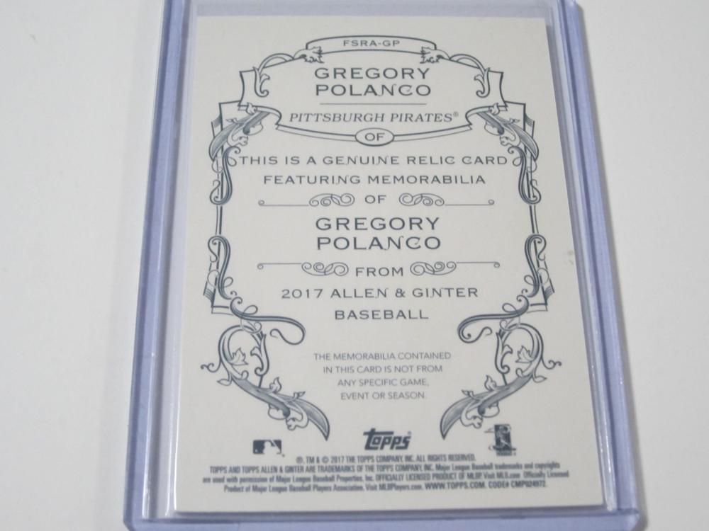 Lot 705: 2017 TOPPS ALLEN & GINTER JERSEY RELIC GREGORY POLANCO PITTSBURGH PIRATES SPORTS CARD #FSRA-GP