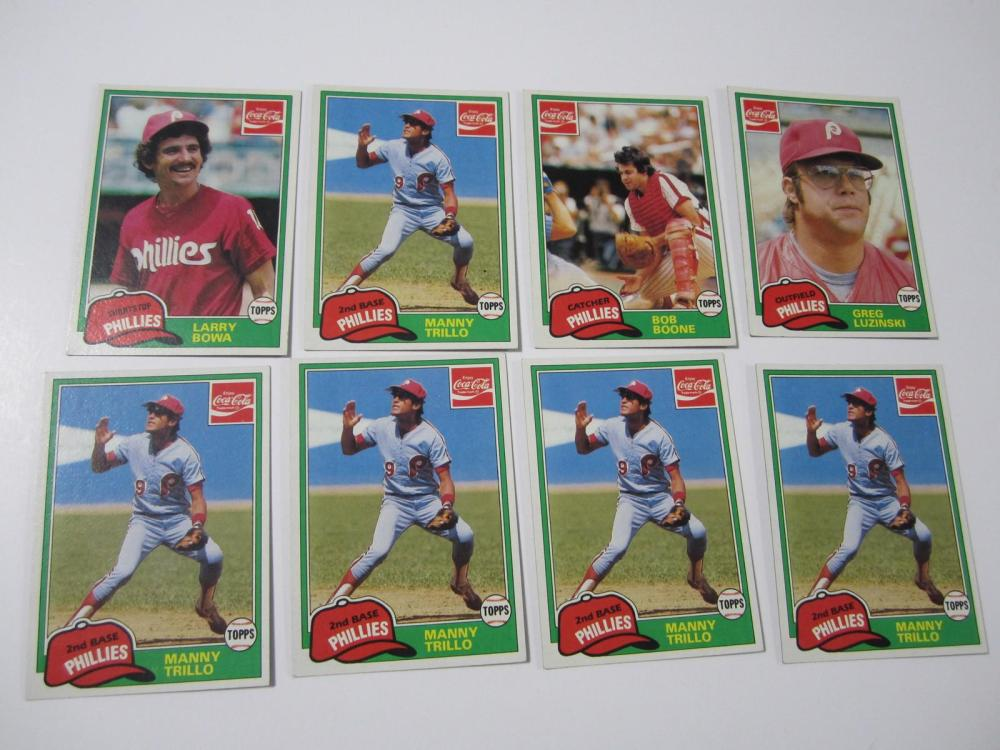 Lot 711: LOT OF EIGHT (8) 1981 TOPPS COCA COLA SERIES GREG LUZINSKI PHILLIES SPORTS CARDS