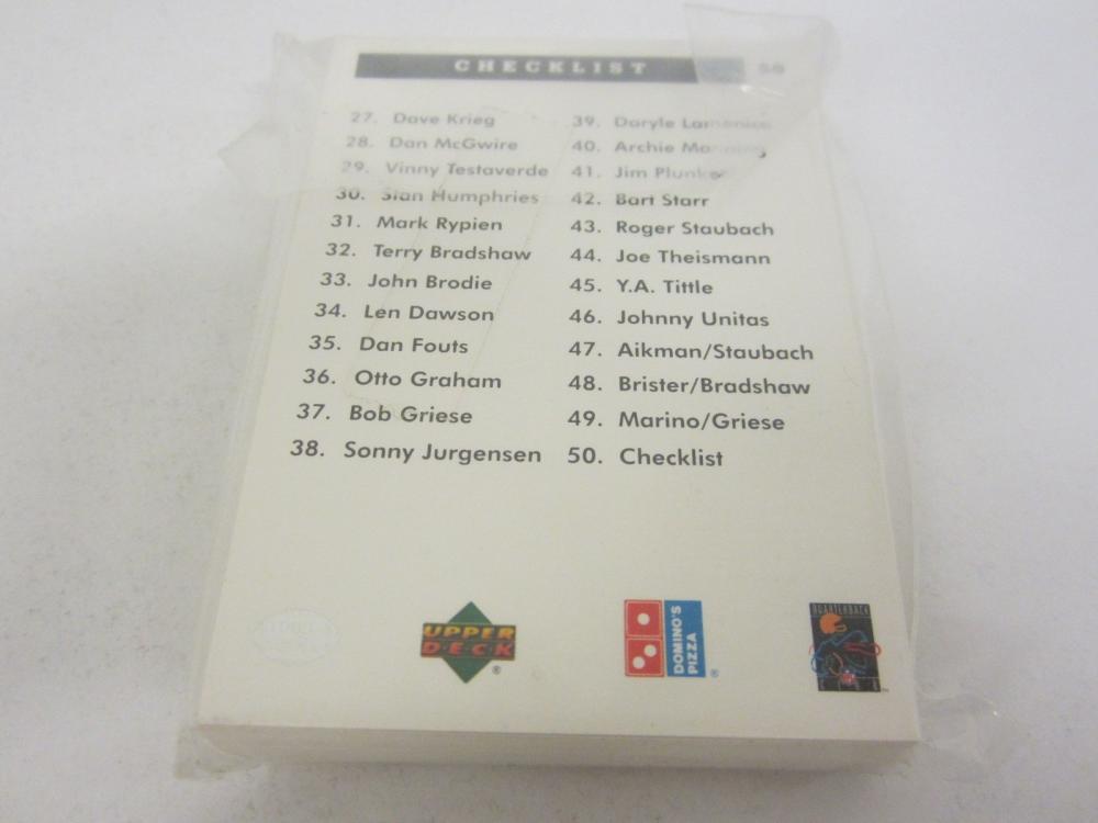 Lot 703: UPPERDECK QUARTERBACK CHALLENGE 50 CARD COMPLETE SET
