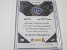 Lot 720: 2015 PANINI CERTIFIED FOOTBALL DOUBLE JERSEY RELIC 682/799 MARCUS MARIOTA & DORIAL GREEN-BECKAM TENNESSEE TITANS SPORTS CARD #NG-TEN