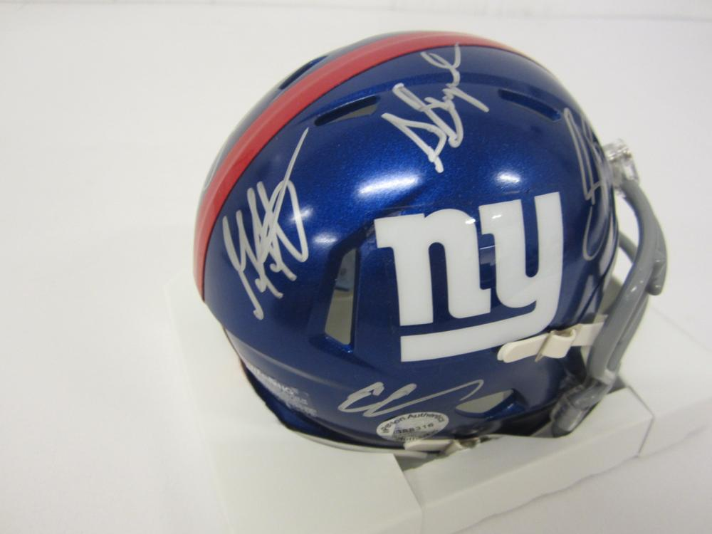 Lot 736: 2019 Giants Team signed Mini Helmet Manning Barkley and others Certified Coa