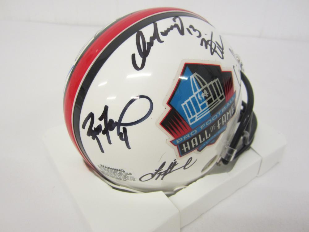 Lot 737: NFL HOF multi signed Mini Helmet Barry Sanders Joe Namath Jim Brown and others Certified Coa