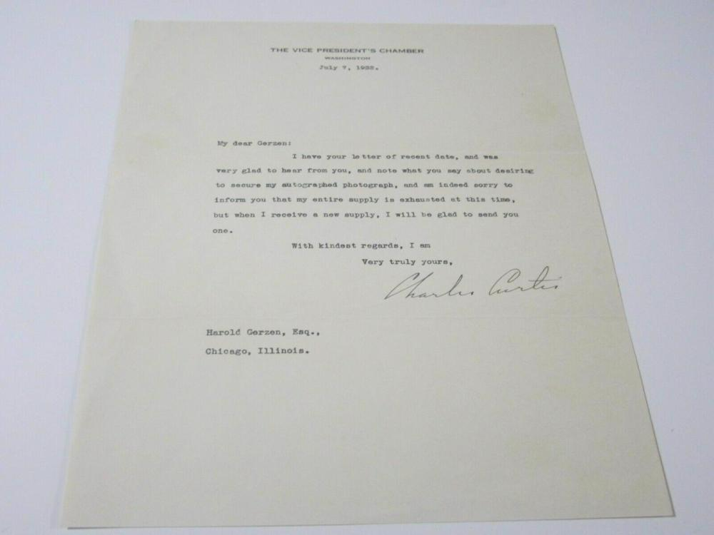 Lot 743: Vice President Charles Curtis (1860-1936) Signed Autographed Letter Certified CoA