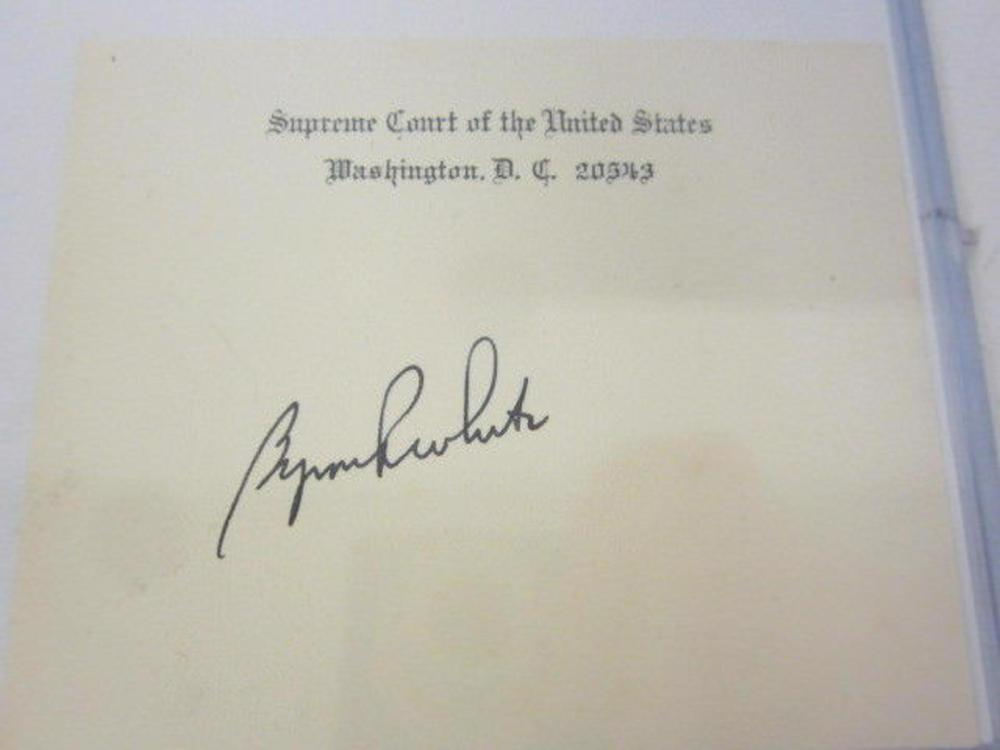 Lot 745: Byron R White (US Supreme Justice) Signed Autographed Card Certified CoA