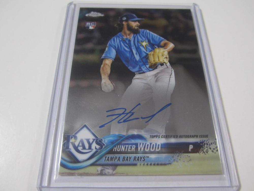 Lot 748: 2018 TOPPS CHROME HUNTER WOOD SIGNED AUTOGRAPHED RAYS CARD