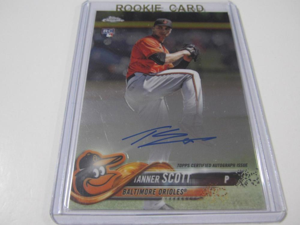 Lot 749: 2018 TOPPS CHROME TANNER SCOTT SIGNED AUTOGRAPHED ORIOLES CARD