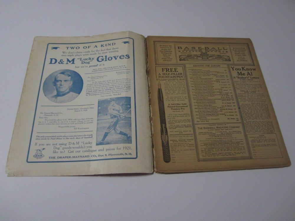 Lot 752: Vintage Baseball Magazine (January 1921) Ira Flagstead/Walter Johnson