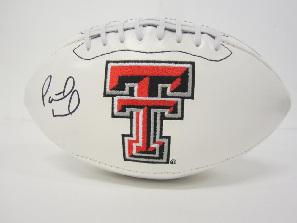 Lot 750: Patrick Mahomes Texas Tech signed Football Certified Coa