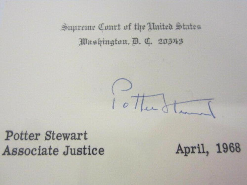 Lot 746: Potter Stewart (Ass. US Supreme Justice) Signed Autographed Card Certified CoA
