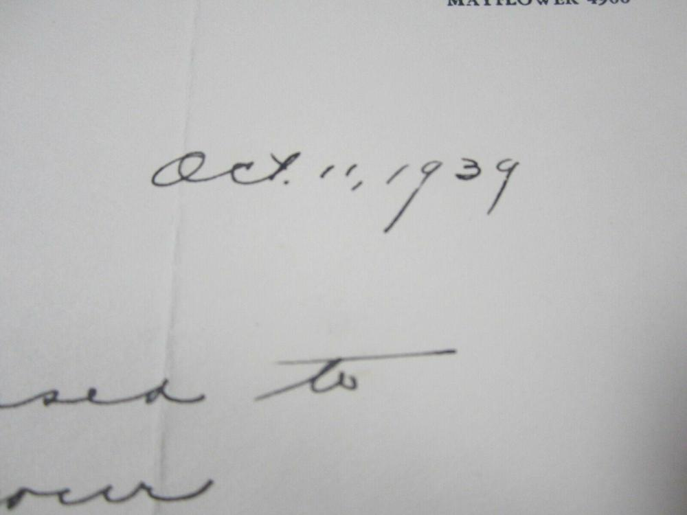 Lot 755: Charley Bowser (Head Football Coach) Signed 1939 Letter Certified CoA