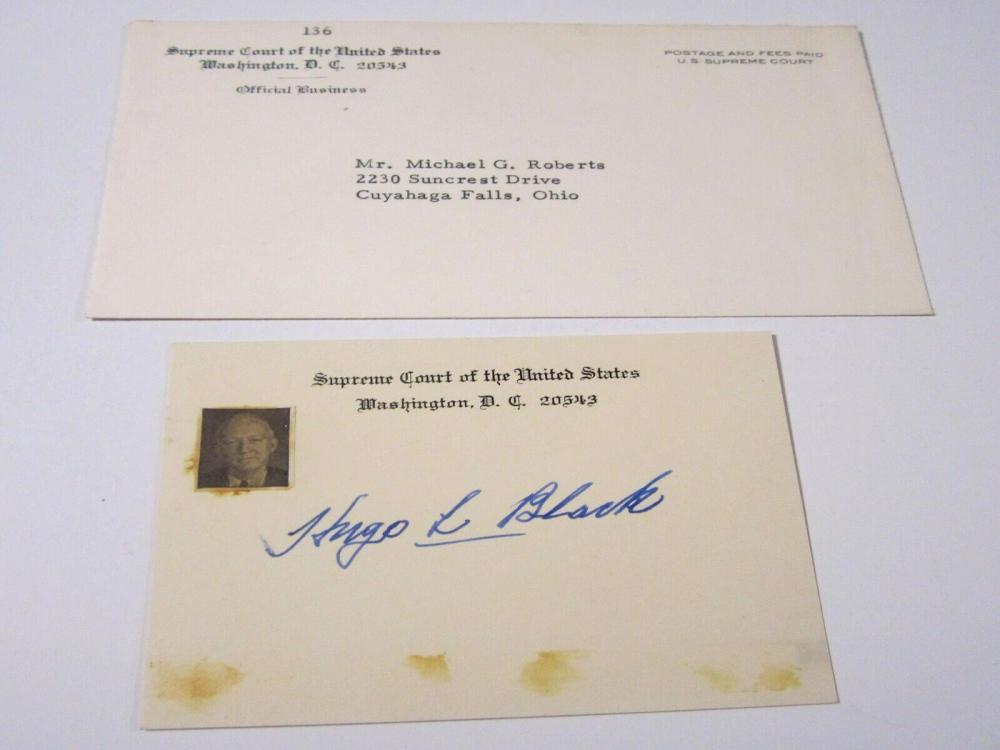 Lot 754: Hugo Black (US Supreme Justice) Signed Autographed Index Card Certified CoA