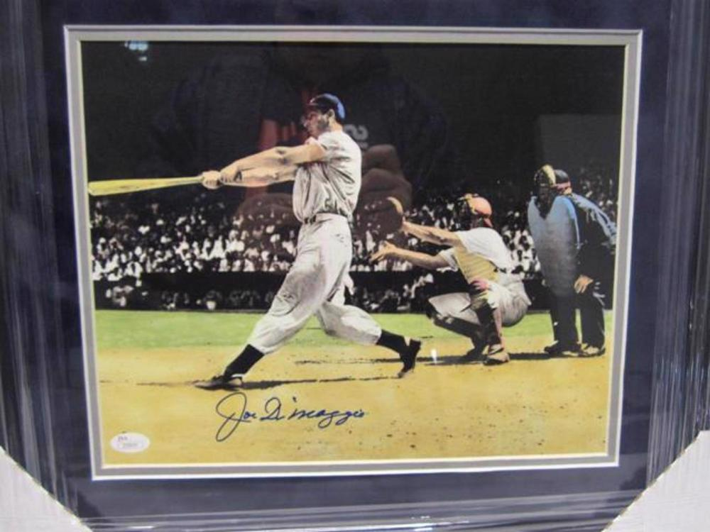 Lot 761: Joe DiMaggio NY Yankees Signed Autographed Matted & Framed 11x14 Photo JSA CoA