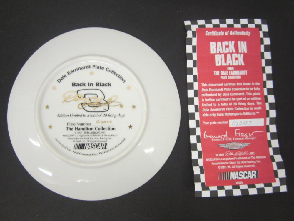 Lot 768: DALE EARNHARDT BACK IN BLACK OFFICAL GLASS HAMILTON PLATE FROM EARNHARDT COLLECTION