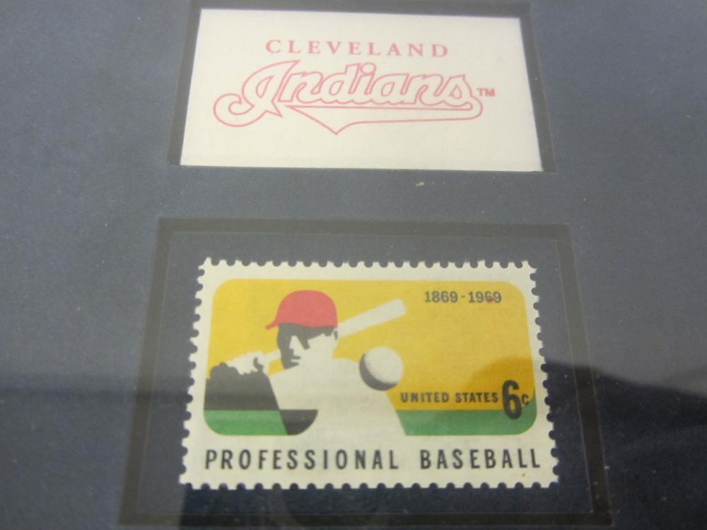 Lot 775: CHARLES NAGY CLEVELAND INDIANS FRAMED SPORTS CARD WITH BASEBALL STAMP 1995 AMERICAN LEAGUE CHAMPS