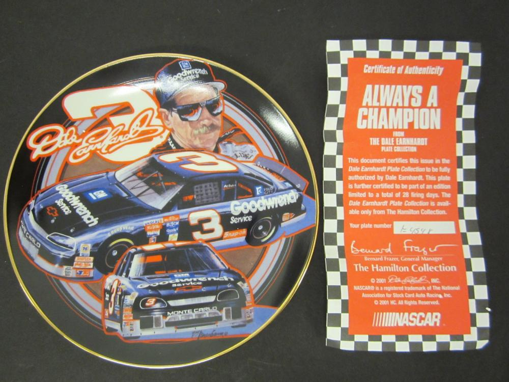 Lot 769: DALE EARNHARDT ALWAYS A CHAMPION OFFICAL GLASS HAMILTON PLATE FROM EARNHARDT COLLECTION