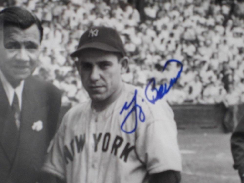 Lot 784: Yogi Berra NY Yankees Signed Autographed Framed 8x10 Photo w/ B.Ruth Steiner Certified CoA