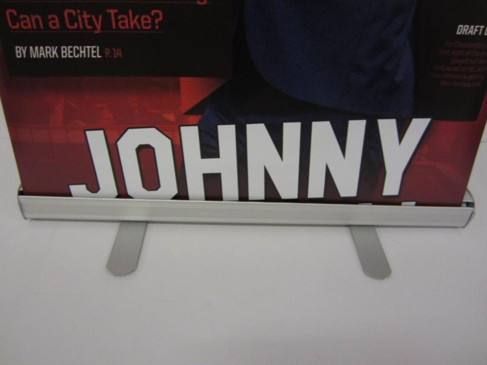 Lot 790: Johnny Manziel Sports Illustrated Draft 6ft Banner w/ Frame & Bag