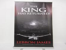 """Lot 791: LeBron James Sports Illustrated Draft """"King Has Returned"""" 6ft Banner w/ Frame & Bag"""