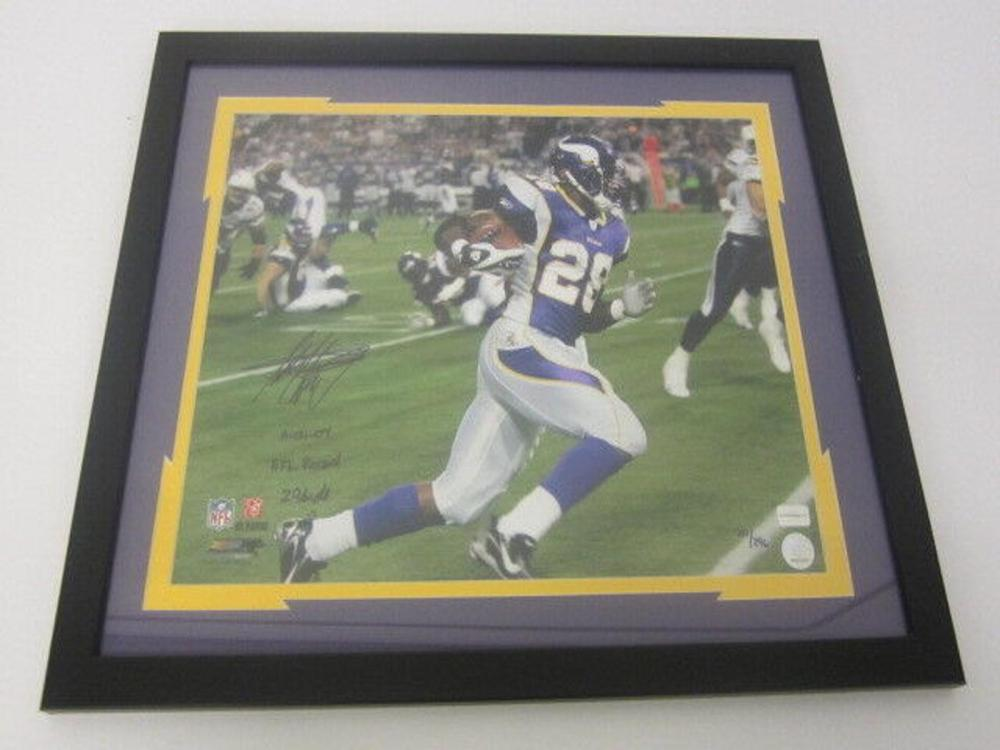 Lot 796: Adrian Peterson Vikings Signed Autographed Framed 16x20 Photo #20/296 Certified CoA