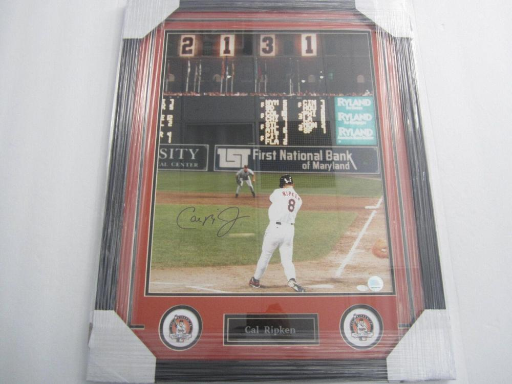 Lot 802: Cal Ripken Orioles Signed Autographed Framed 16x20 Photo Certified CoA