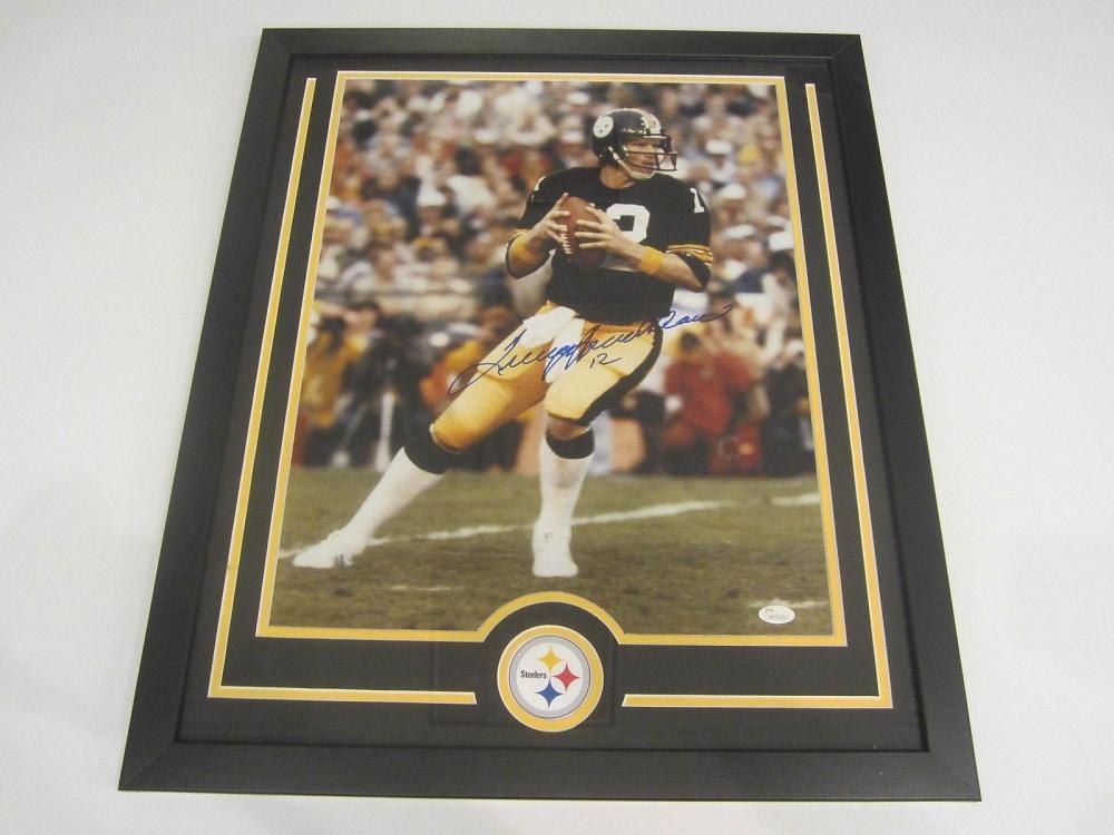 Lot 805: Terry Bradshaw Steelers Signed Autographed Framed 16x20 Photo JSA CoA