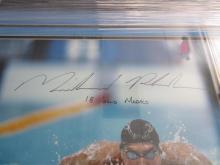 Lot 799: Michael Phelps Signed Autographed Framed Olympics 16x20 Photo JSA CoA