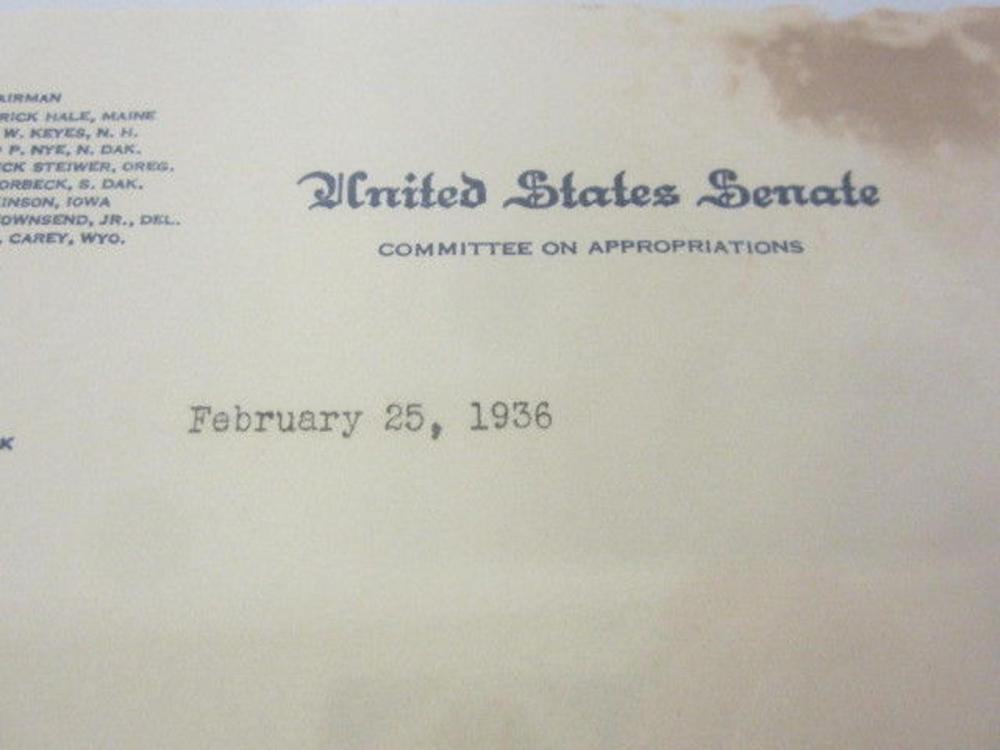 Lot 810: James F. Byrnes (US Senator) Signed Autographed 1936 Official Letter Certified CoA
