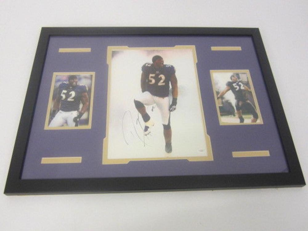Lot 813: Ray Lewis Ravens Signed Autographed Framed 11x14 Photo JSA CoA