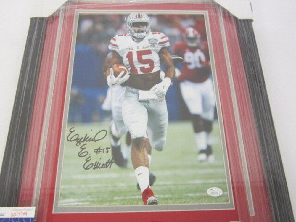 Lot 815: Ezekiel Elliott OSU Signed Autographed Framed 11x14 Photo JSA CoA