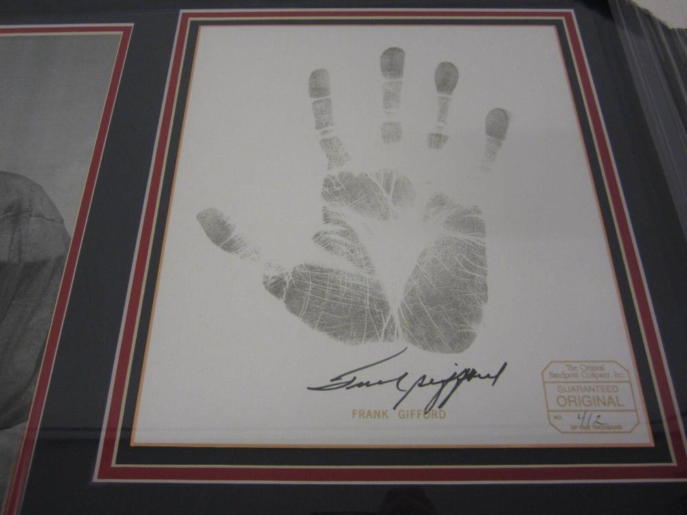 Lot 818: Frank Gifford NY Giants Signed Autographd Framed Ltd Ed Hand Print Certified CoA