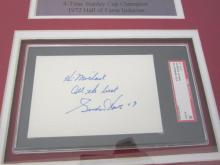 Lot 816: Gordie Howe Red Wings Signed Autographed Index Card Framed w/ Photo Certified CoA