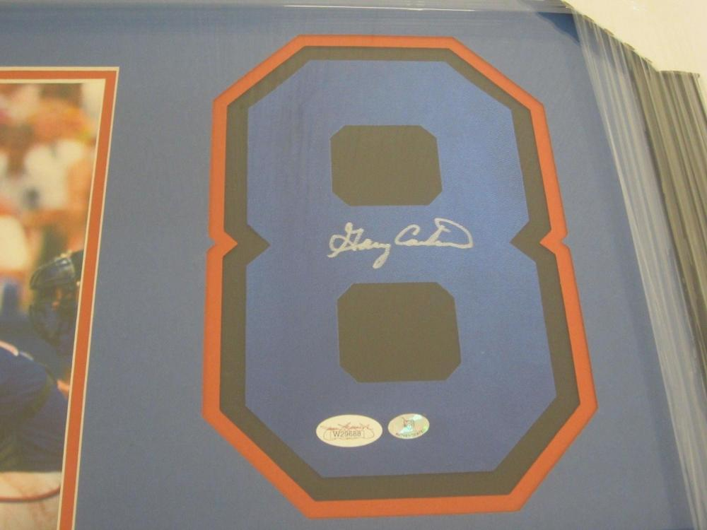 Lot 820: Gary Carter NY Mets Signed Autographed Framed Jersey Number w/ Photo JSA CoA