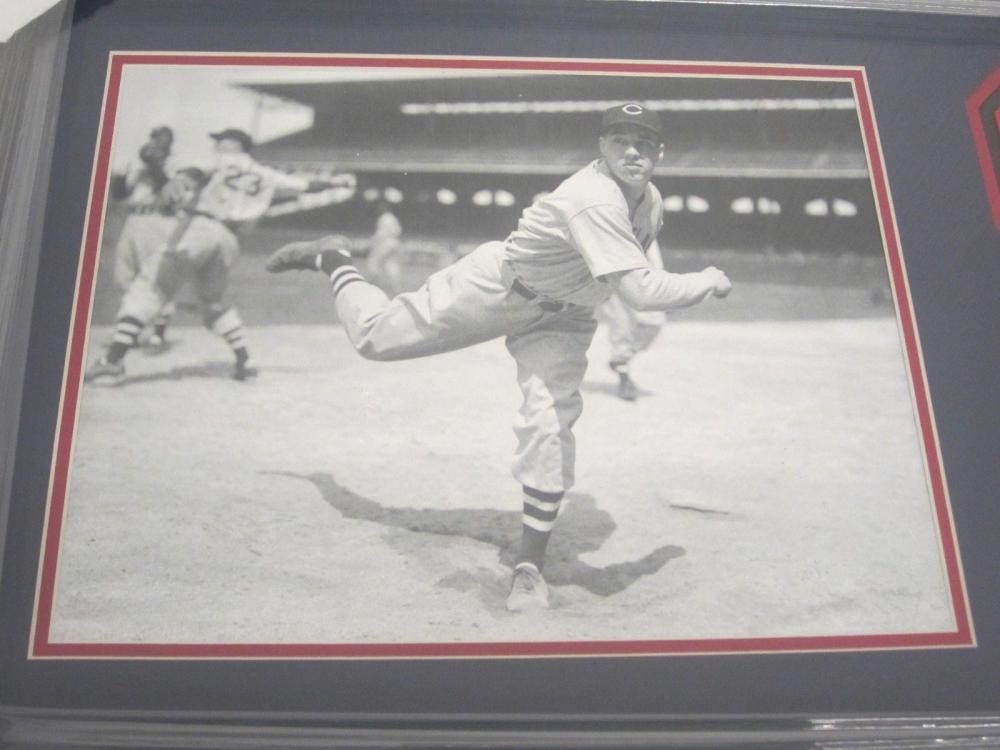 Lot 821: Bob Feller Indians Signed Autographed Framed Jersey Number w/ Photo Certified CoA
