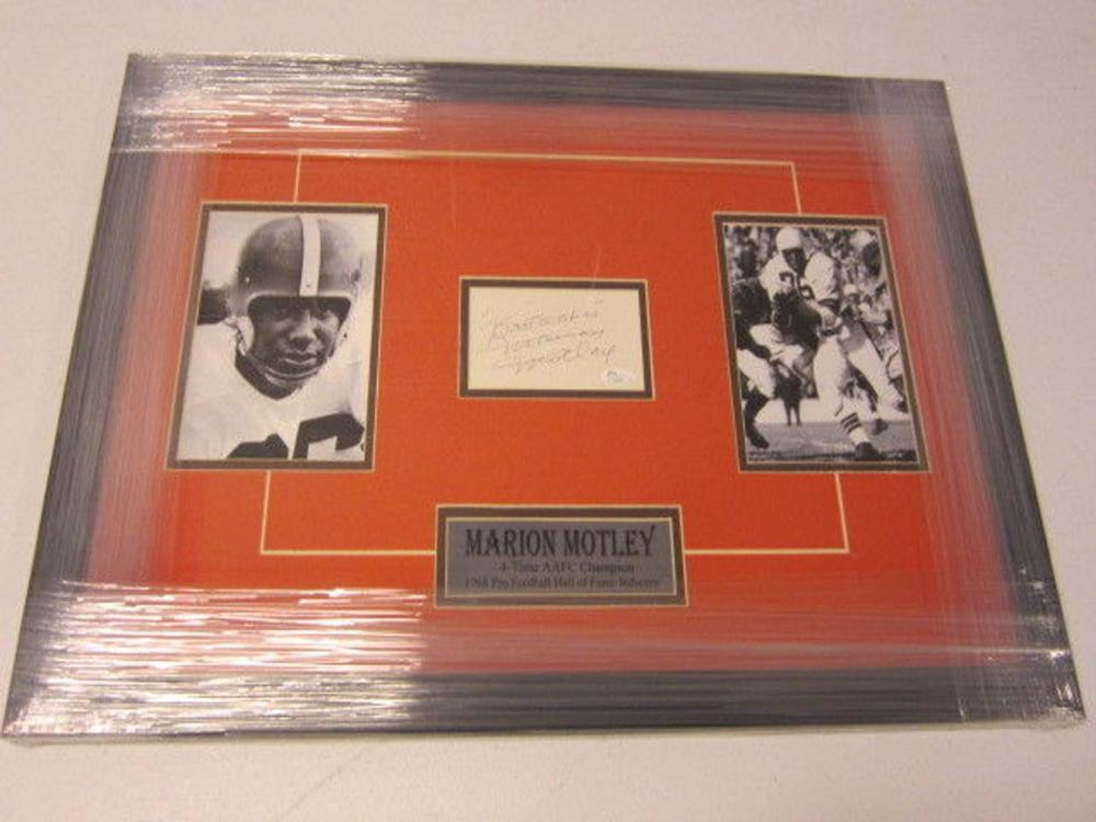 Lot 831: Marion Motley Browns Signed Autographed Framed Index Card JSA CoA