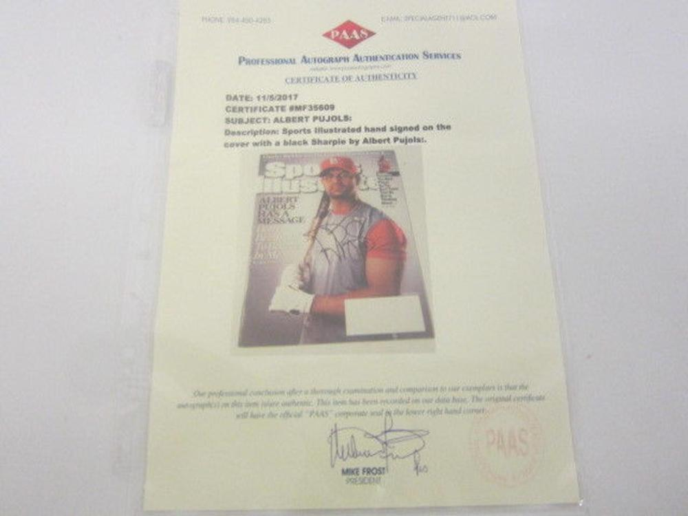Lot 837: Albert Pujols Cardinals Signed Autographed Framed Sports Illustrated Magazine Certified CoA