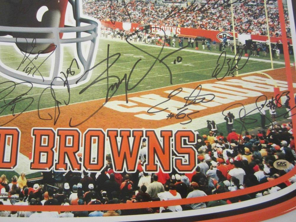 Lot 839: 2007 Cleveland Browns Team Signed Autographed Large Metal Sign (35+ Autos) Certified CoA