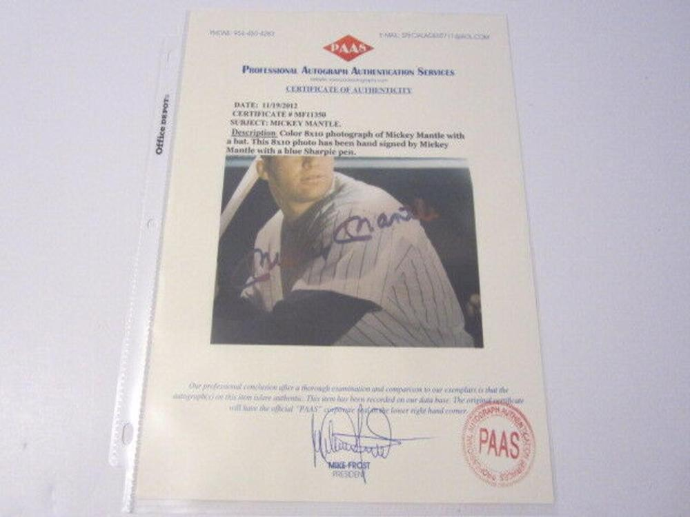 Lot 846: Mickey Mantle NY Yankees Signed Autographed 8x10 Photo Certified CoA