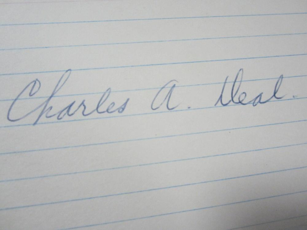 Lot 849: Charles Deal Chicago Cubs Signed Autographed Index Card w/ Photo Certified CoA