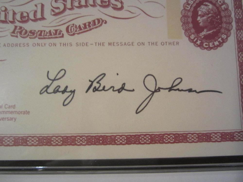 Lot 853: Lady Bird Johnson (First Lady) Signed Autographed Vintage Postcard Certified CoA