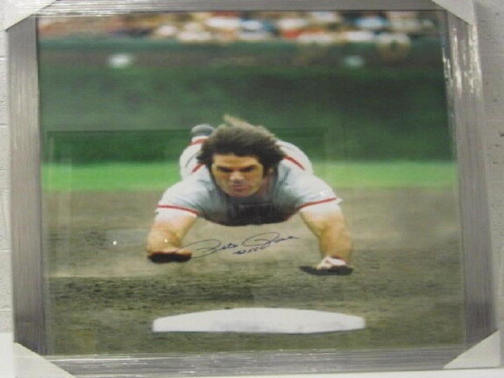 Lot 868: Pete Rose Cincinnati Reds Signed Autographed Framed 30x36 Photo Certified CoA
