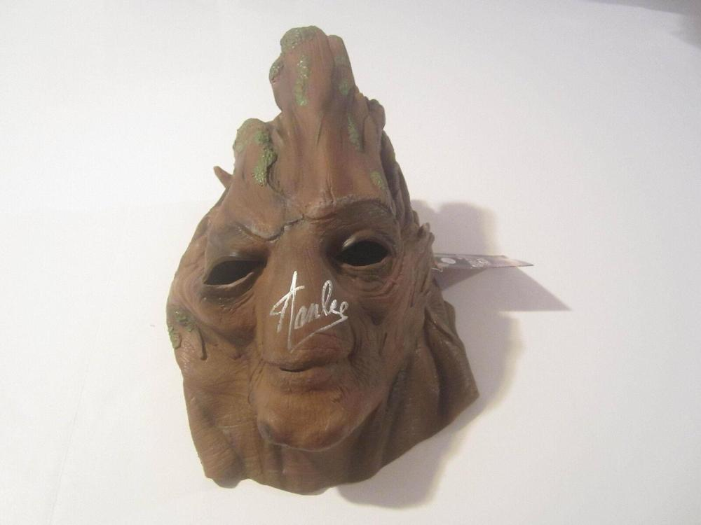 Lot 876: Stan Lee Signed Autographed Guardians of the Galaxy Groot Latex Mask JSA CoA
